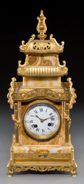 Decorative Arts, French:Other , A French Hardstone and Gilt Bronze Pagoda Form Table Clock, 19thcentury . Marks to movement: Ed. Minart 5060. 17-1/2 x 7-1/...