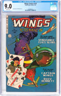 Golden Age (1938-1955):War, Wings Comics #118 (Fiction House, 1952) CGC VF/NM 9.0 Off-whitepages....
