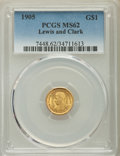 Commemorative Gold, 1905 G$1 Lewis and Clark Gold Dollar MS62 PCGS. PC...