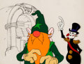 Animation Art:Production Cel, Wizards Avatar and President Solomon Production Cel Setup with Toby Bluth Background Layout Drawing (Ralph Bakshi, 197...