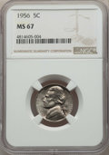 Jefferson Nickels, 1956 5C MS67 NGC. NGC Census: (30/0). Mintage 35,200,000. ...