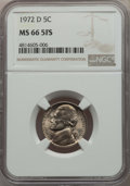 Jefferson Nickels, 1972-D 5C MS66 Full Steps NGC. NGC Census: (2/0). PCGS Population: (60/1). ...