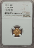 Gold Dollars: , 1854-S G$1 -- Scratches -- Details NGC. XF. NGC Census: (0/146). PCGS Population: (6/129). CDN: $425 Whsle. Bid for problem...