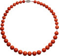 Estate Jewelry:Necklaces, Coral, Diamond, White Gold Necklace . ...