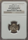 1960 1C Large Date Lincoln Cent -- Struck on a Dime Planchet -- MS63 NGC. 2.5 gm
