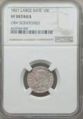 Bust Dimes, 1821 10C -- Obverse Scratched -- NGC Details. VF. This lot willalso include a: 1825 10C -- Reverse Scratched -- NGC D... (Total: 2coins)