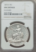 Trade Dollars: , 1875-S T$1 -- Improperly Cleaned -- Details NGC. Unc. NGC Census:(23/713). PCGS Population: (45/863). MS60. Mintage 4,487,...