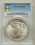 Peace Dollars, 1926 $1 MS66 PCGS Secure. PCGS Population: (268/0). NGC Census:(56/1). CDN: $1,200 Whsle. Bid for problem-free NGC/PCGS MS...