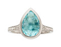 Estate Jewelry:Rings, Paraiba Tourmaline, Diamond, White Gold Ring, Silverhorn. ...