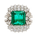 Estate Jewelry:Rings, Colombian Emerald, Diamond, White Gold Ring . ...