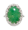 Estate Jewelry:Rings, Jadeite Jade, Diamond, Platinum Ring  The ring...