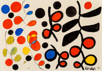 Alexander Calder (1898-1976) Black is Dominant, 1969 Gouache and ink on paper 29-1/2 x 43-1/8 inc