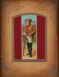 "Advertising:Paper Items, William F. ""Buffalo Bill"" Cody: Colorful Circa 1890 Trade Card inVintage Mat and Frame. ..."