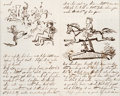 Autographs:Artists, Thomas Nast: Four-Page Autograph Letter with Hand-Drawn Sketches....