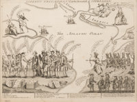 """Revolutionary War: """"Liberty Triumphant or the Downfall of Oppression"""" Prohibitively Rare Copper Engraved Carto..."""