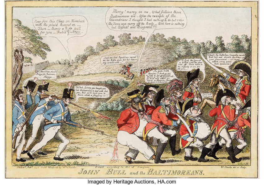 War Of 1812 John Bull And The Baltimoreans Satirical Cartoon By