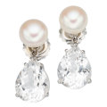 Estate Jewelry:Earrings, Rock Crystal Quartz, Cultured Pearl, White Gold Earrings, Mish NY. ...