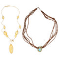 Estate Jewelry:Necklaces, Diamond, Shell, Synthetic Turquoise, Gold Pendant-Necklace. ... (Total: 2 Items)