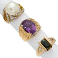 Estate Jewelry:Rings, Diamonds, Green Sapphire, Amethyst, Freshwater Cultured Pearl, GoldRings . ... (Total: 3 Items)