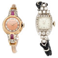 Estate Jewelry:Watches, Lady's Ruby, Diamond, Gold Watches. ... (Total: 2 Items)