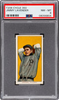 Baseball Cards:Singles (Pre-1930), 1909-11 T206 Cycle 350 Jimmy Lavender PSA NM-MT 8 - Pop Five, None Higher! ...