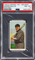 Baseball Cards:Singles (Pre-1930), 1909-11 T206 Sweet Caporal 350-460/42 Overprint George Mullin (With Bat) PSA NM-MT 8 - Pop Two, None Higher! ...