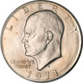 Errors, 1971-D $1 Eisenhower Dollar -- Reverse Indented by Dime Planchet -- MS64 PCGS....