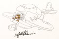 Animation Art:Production Cel, Captain Caveman and the Teen Angels Production Cel andDrawing Group Signed by Mel Blanc (Hanna-Barbera, 1980).... (Total:2 Original Art)