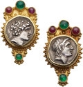 Estate Jewelry:Earrings, Ancient Silver Greek Coin, Gold Earrings, Parrish & Wager