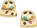 Estate Jewelry:Earrings, Multi-Stone, Diamond, Gold Earrings  The earri...