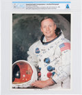 Explorers:Space Exploration, Neil Armstrong Signed and Inscribed White Spacesuit Color Photo with Carbon of Accompanying Letter of Transmittal, Directl...