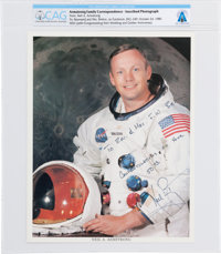Neil Armstrong Signed and Inscribed White Spacesuit Color Photo with Carbon of Accompanying Letter of Transmittal