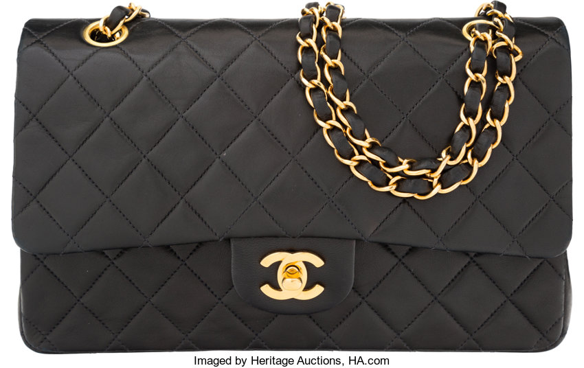 e81cc7bc44d8 Chanel Black Quilted Lambskin Leather Medium Double Flap Bag