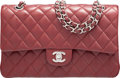 """Luxury Accessories:Bags, Chanel Burgundy Quilted Caviar Leather Medium Classic Double Flap Bag with Silver Hardware. Condition: 1. 10"""" Width x ..."""