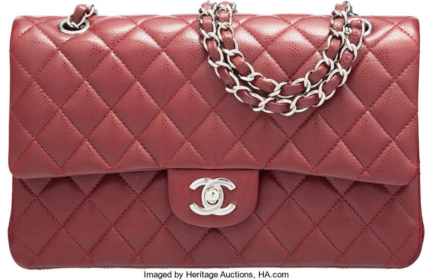 0ec2cdb0223c4b ... Luxury Accessories:Bags, Chanel Burgundy Quilted Caviar Leather Medium  Classic Double FlapBag with Silver ...
