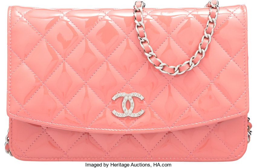 56034d6158c5 ... Luxury Accessories:Bags, Chanel Rose Quilted Patent Leather Brilliant  Wallet on Chain Bagwith Silver ...
