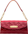 """Luxury Accessories:Bags, Louis Vuitton Red Monogram Vernis Leather Sunset Boulevard Clutchwith Gold Hardware. Condition: 2. 9"""" Width x 4.5""""He..."""