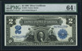 Large Size:Silver Certificates, Fr. 256 $2 1899 Silver Certificate PMG Choice Uncirculated 64 EPQ.....