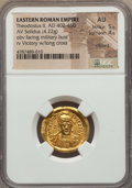 Ancients:Roman Imperial, Ancients: Theodosius II (AD 402-450). AV solidus (22mm, 4.22 gm,6h). NGC AU 5/5 - 4/5, clipped....