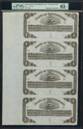 Canadian Currency, St. John's, NF- Island of Newfoundland 1 Pound 1850 Ch # NF-1 Unsigned Remainder Sheet of Four.. ...