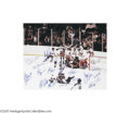 """Hockey Collectibles:Others, 1980 U.S.A. Olympic Hockey Team Signed Large Photograph. """"Do you believe in Miracles?!"""" Second only to the fall of the Ber..."""