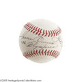 Autographs:Others, 1978 Legends of Sport Multi-Signed Baseball with Jesse Owens. The man who embarrassed Adolf Hitler with his gold medal perf...