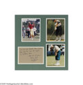 Golf Collectibles:Autographs, Payne Stewart Handwritten Note Display. Best remembered for his oldschool golfing attire and the bizarre and tragic manner...