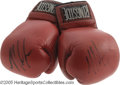 Boxing Collectibles:Memorabilia, 1996 Mike Tyson Training Worn Gloves. Acquired directly from heavyweight contender Jose Ribalta, who took on the frightenin...