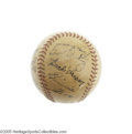 Autographs:Baseballs, 1938 American League All-Star Team Signed Baseball. Crosley Field served as the home of the 1938 Midsummer Classic, bringin...
