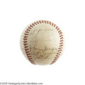 "Autographs:Baseballs, 1939 New York Yankees Team Signed Baseball. After their teamcaptain Lou Gehrig proclaimed himself ""the luckiest man on the..."