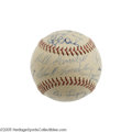 Autographs:Baseballs, 1950's Hall of Famers Multi-Signed Baseball. Some tough signatures here, and a few which you don't often see on a baseball....