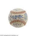 Autographs:Baseballs, 1957 Cleveland Indians Team Signed Baseball. Collectors who valuecondition will want to take notice of this exceptional OA...