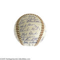 Autographs:Baseballs, 1957 Milwaukee Braves Team Signed Baseball. Widely considered the greatest Braves team of all time, this power-packed squad...