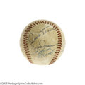 Autographs:Baseballs, Late 1960's Multi-Signed Baseball with Clemente and Carew. Animpressive (9/10) blue ink autograph from the heroic Roberto ...